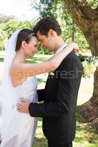Liefhebbend bruid bruidegom tuin profiel Stockfoto © wavebreak_media