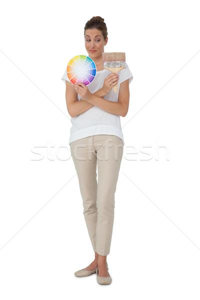 女性 塗料 絵筆 白 ストックフォト © wavebreak_media