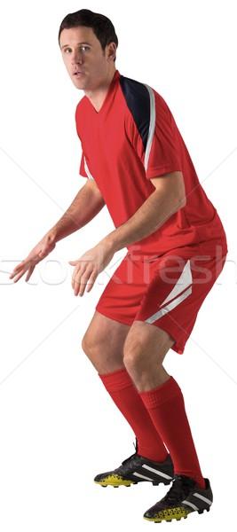 Futbolista rojo pie listo blanco hombre Foto stock © wavebreak_media