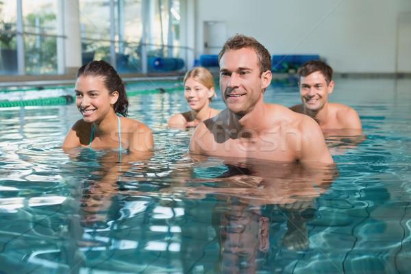 Uygunluk sınıf sualtı egzersiz Motosiklet yüzme havuzu Stok fotoğraf © wavebreak_media