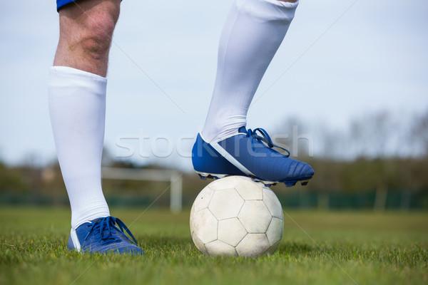 Futballista áll labda fű sport mező Stock fotó © wavebreak_media