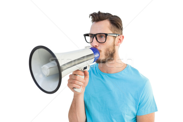 Yakışıklı konuşma megafon beyaz moda Stok fotoğraf © wavebreak_media