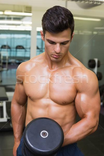 Shirtless muscular man exercising with dumbbell Stock photo © wavebreak_media