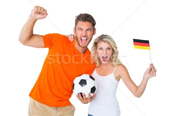Heyecanlı futbol fan çift kamera Stok fotoğraf © wavebreak_media