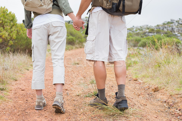 Hiking couple walking on mountain terrain Stock photo © wavebreak_media