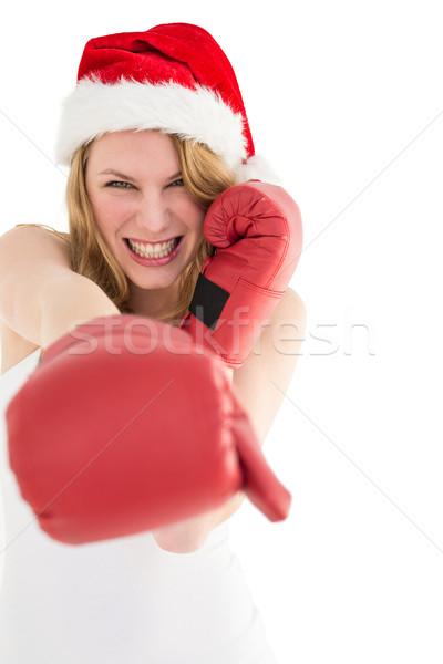 Rękawice bokserskie biały piękna portret Zdjęcia stock © wavebreak_media