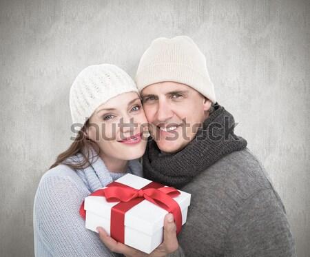 Lezser pár meleg ruha tart ajándék fehér Stock fotó © wavebreak_media