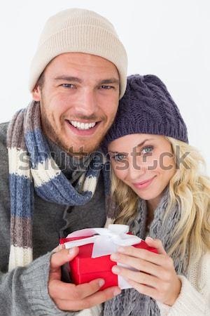 幸せ カップル 暖かい衣類 ガラス ウィンドウ ストックフォト © wavebreak_media