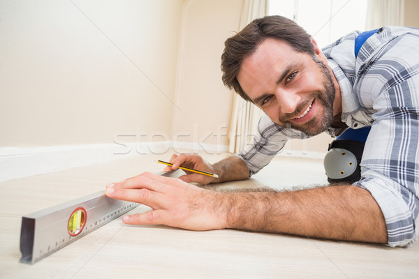 Bouwvakker geest niveau huis man Stockfoto © wavebreak_media