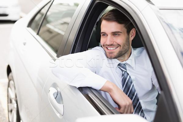 счастливым бизнесмен сидят сиденье автомобилей бизнеса Сток-фото © wavebreak_media