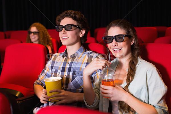 Fiatal pér néz 3D film mozi nő Stock fotó © wavebreak_media