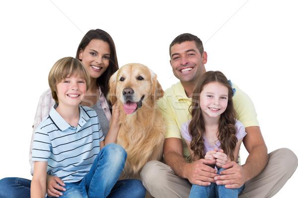 Mutlu aile golden retriever portre beyaz kadın köpek Stok fotoğraf © wavebreak_media