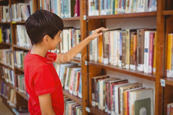Stock fotó: Oldalnézet · fiú · kiválaszt · könyv · könyvtár · aranyos