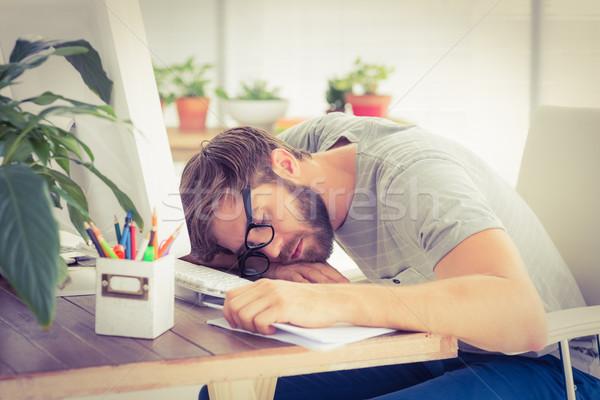 Sfinito imprenditore dormire laptop ufficio business Foto d'archivio © wavebreak_media