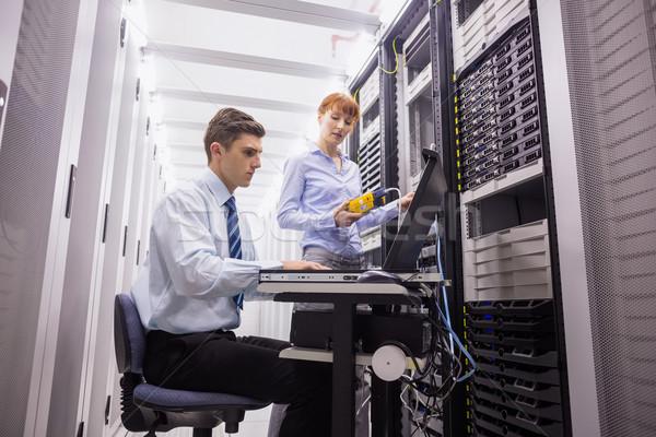 Takım dijital kablo sunucular büyük veri merkezi Stok fotoğraf © wavebreak_media