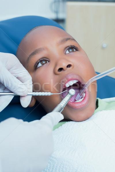 Foto d'archivio: Ragazzo · denti · dentista · bambino · maschio