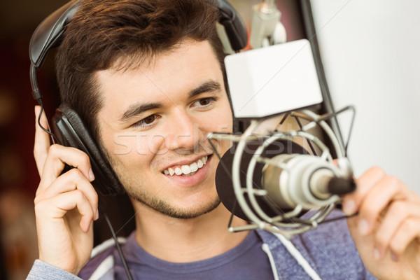 Portré egyetemi hallgató audio stúdió rádió boldog Stock fotó © wavebreak_media