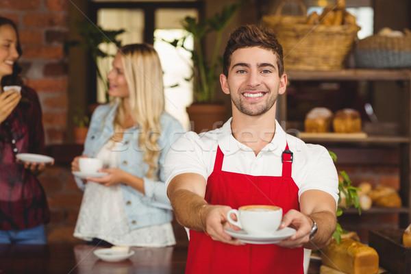 ハンサム ウェイター カップ コーヒー 肖像 コーヒーショップ ストックフォト © wavebreak_media