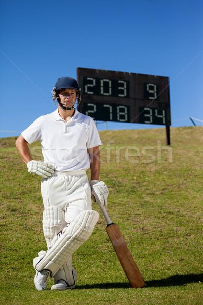 Cricket speler bat permanente scorebord Stockfoto © wavebreak_media