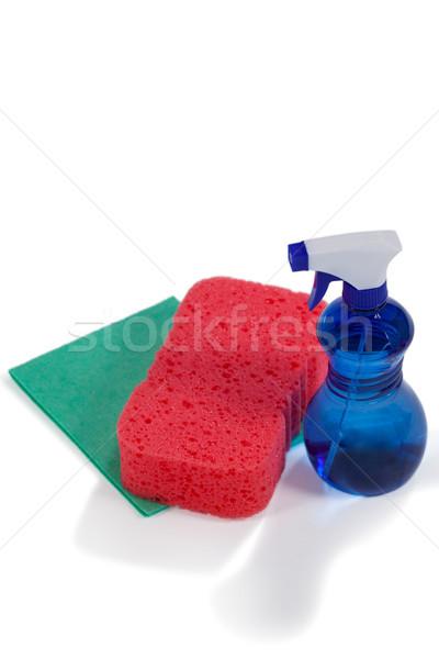 Detergent spray bottle, sponge pad and wipe pad on white background Stock photo © wavebreak_media