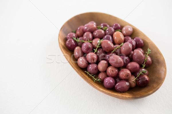 Close-up marinated olives in bowl Stock photo © wavebreak_media