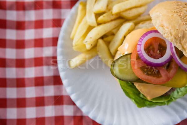 Ansicht Cheeseburger Platte Tabelle Flagge Stoff Stock foto © wavebreak_media