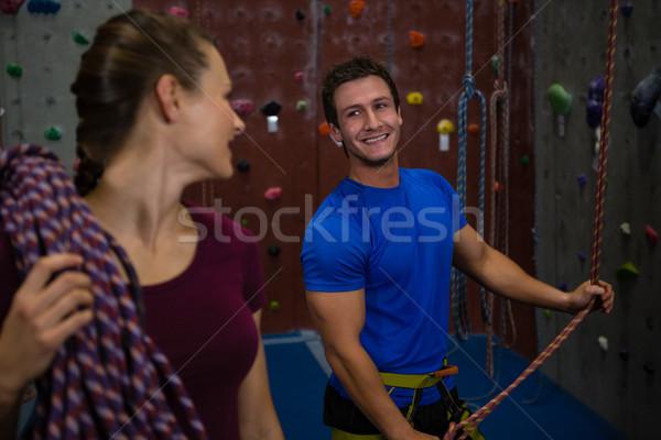 женщины спортсмена веревку глядя тренер Сток-фото © wavebreak_media