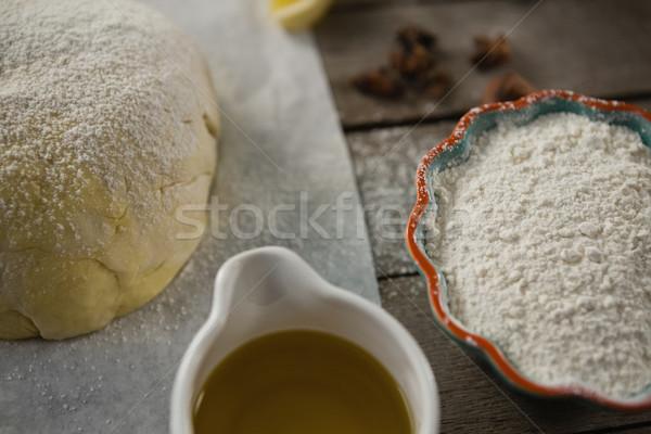 Ver farinha óleo de cozinha tabela madeira Foto stock © wavebreak_media