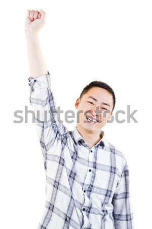 счастливым молодым человеком стороны подбородок белый экране Сток-фото © wavebreak_media