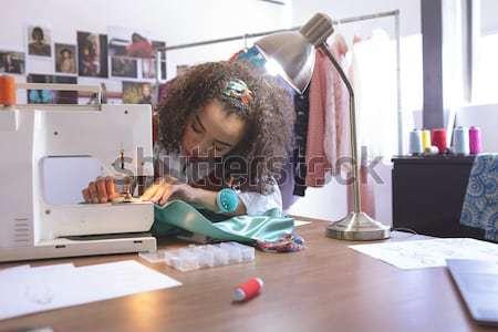 Kadın moda tasarımcı çalışma büro ev Stok fotoğraf © wavebreak_media