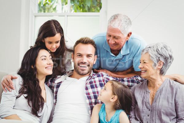 счастливая семья дедушка и бабушка домой дома человека ребенка Сток-фото © wavebreak_media