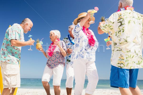 Idős barátok iszik koktélok tengerpart nő Stock fotó © wavebreak_media