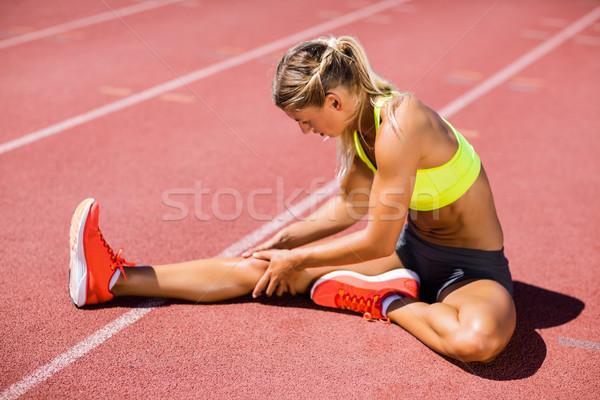 Stok fotoğraf: Kadın · atlet · yukarı · çalışma · izlemek