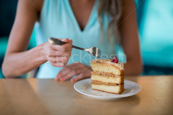 Woman eating dessert in cafe Stock photo © wavebreak_media