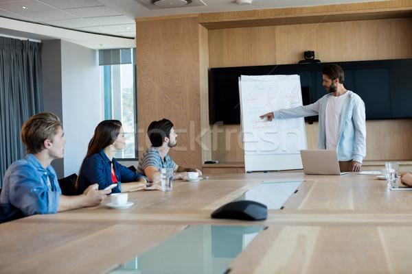 Uomo presentazione colleghi sala conferenze ufficio business Foto d'archivio © wavebreak_media