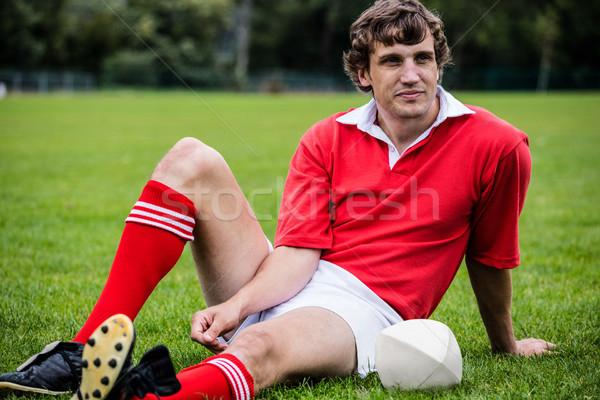Rugby oyuncu oturma çim maç park Stok fotoğraf © wavebreak_media