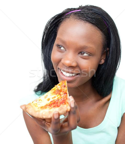 Charmant jonge vrouw eten pizza witte meisje Stockfoto © wavebreak_media