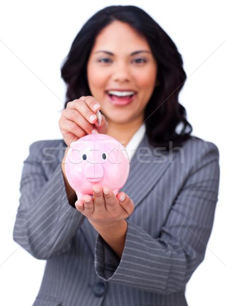 Fiatal üzletasszony takarékosság pénz persely fehér Stock fotó © wavebreak_media