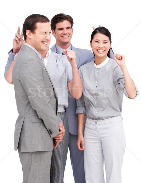 Animado equipo de negocios junto blanco empresario Foto stock © wavebreak_media