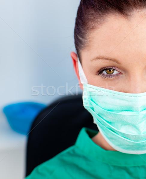 Közelkép gyönyörű női orvos cserjék ül Stock fotó © wavebreak_media