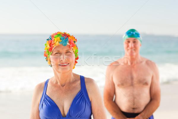 Stok fotoğraf: Plaj · kadın · kız · gülümseme · spor