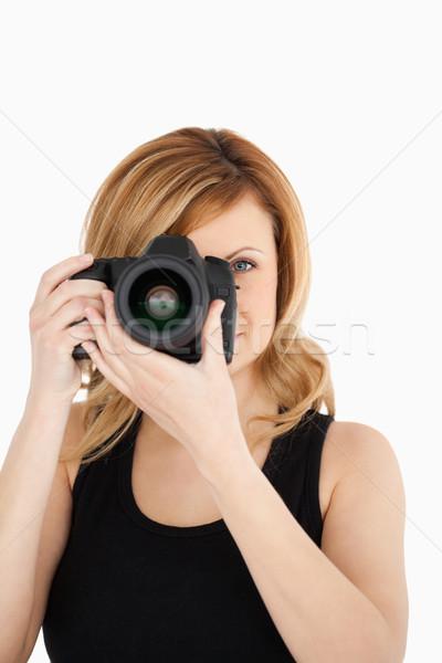 魅力的な 女性 写真 カメラ 白 ストックフォト © wavebreak_media