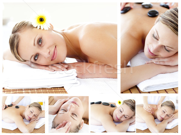 Collage of an attractive young girl being massaged  Stock photo © wavebreak_media