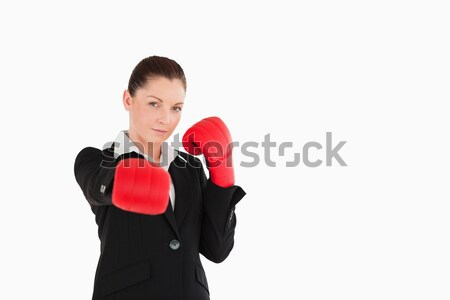 Boa aparência mulher luvas de boxe em pé branco Foto stock © wavebreak_media