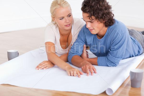 Zdjęcia stock: Para · mówić · przyszłości · pokój · plan · piętrze
