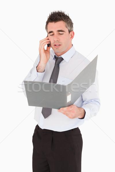 Foto stock: Retrato · empresário · telefonema · branco