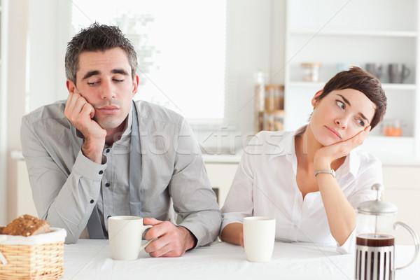Boldogtalan pár iszik kávé konyha nő Stock fotó © wavebreak_media
