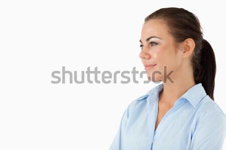 Zijaanzicht glimlachend zakenvrouw witte handen werknemer Stockfoto © wavebreak_media