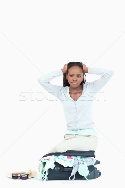 Bőrönd fiatal nő tele fehér szépség utazás Stock fotó © wavebreak_media