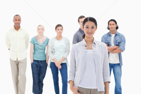люди за женщина улыбается белые люди белый рук Сток-фото © wavebreak_media